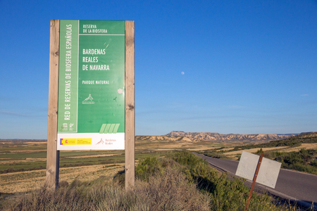 Entrance sign to the Bardenas Reales Natural Park. Navarre, Spain