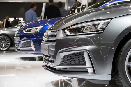 motor cars: BRUSSELS - JAN 19, 2017: New Audi cars on display at the Brussels Motor Show.