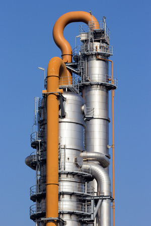 Cooling tower of an oil and gas refinery industrial plant. Stock Photo