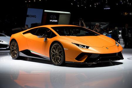 GENEVA, SWITZERLAND - MARCH 7, 2017: Lamborghini Huracan Performante sports car world premiere at the 87th Geneva International Motor Show. Stok Fotoğraf - 73701202