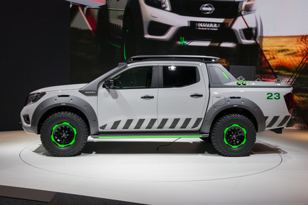 nissan: HANNOVER, GERMANY - SEP 21, 2016: Nissan Navara EnGuard Concept all-terrain pick-up truck at the International Motor Show for Commercial Vehicles. Editorial