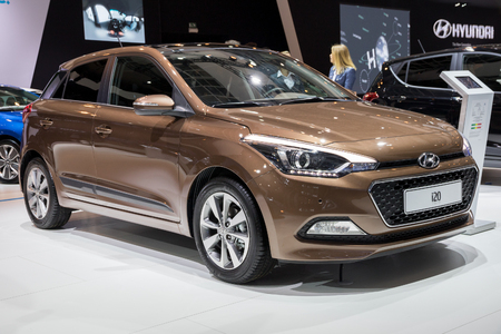 motor cars: BRUSSELS - JAN 19, 2017: Hyundai i20 car presented at the Brussels Motor Show.