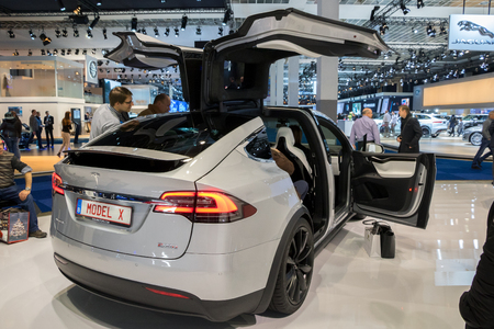 automobile: BRUSSELS - JAN 19, 2017: Tesla Model X electric car on display at the Motor Show Brussels.