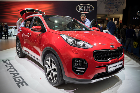 motor cars: BRUSSELS - JAN 19, 2017: KIA Sportage GT compact SUV car presented at the Brussels Motor Show. Editorial
