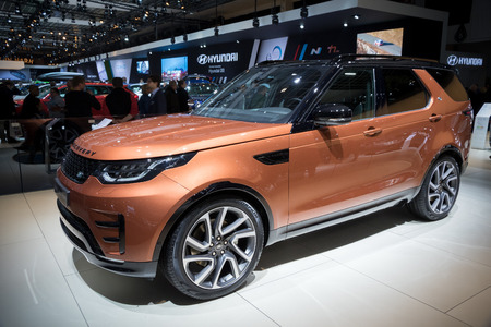 motor car: BRUSSELS - JAN 19, 2017: Land Rover Discovery car presented at the Brussels Motor Show.