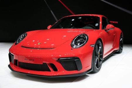 GENEVA, SWITZERLAND - MARCH 7, 2017: New 2018 Porsche 911 GT3 sports car presented at the 87th Geneva International Motor Show.