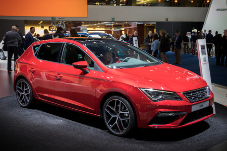 BRUSSELS - JAN 19, 2017: Seat Leon car presented at the Brussels Motor Show.