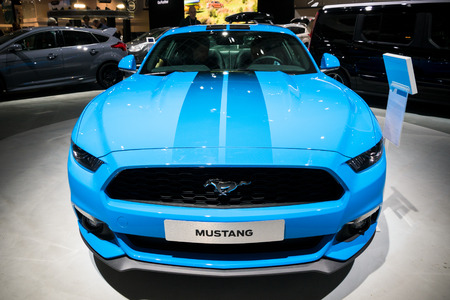 mustang gt: BRUSSELS - JAN 19, 2017: Blue Ford Mustang car on display at the Motor Show Brussels Editorial