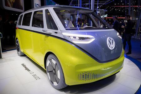 mpv: GENEVA, SWITZERLAND - MARCH 7, 2017: New electric Volkswagen I.D. Buzz van presented at the 87th Geneva International Motor Show.