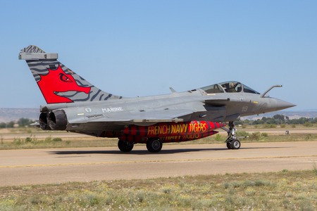 ZARAGOZA, SPAIN - MAY 20,2016: Special painted French Navy Dassault Rafale fighter jet plane taxiing after landing on Zaragoza airbase. Editorial