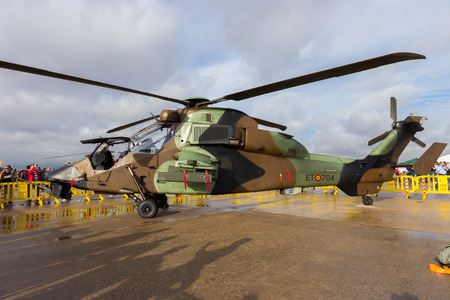 TORREJON, SPAIN - OCT 11, 2014: Spanish Army Eurocopter EC665 Tiger attack helicopter.
