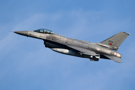 LEEUWARDEN, THE NETHERLANDS - MRT 28, 2017: Portuguese Air Force F-16 fighter jet plane taking off during NATO exercise Frisian Flag.