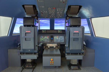 PARIS - JUN 18, 2015: Flight simulator on display at the 51st International Paris Air show. Editorial