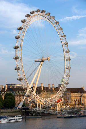 LONDON, UK - JUL 1, 2015: View on the London Eye ferris wheel. A famous tourist attraction and with a height of 135 metres 443 ft the biggest in Europe.