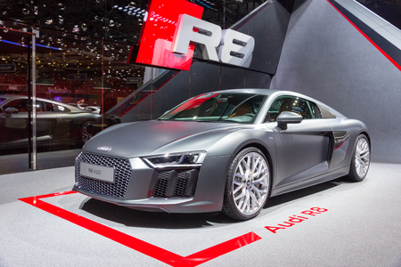 GENEVA, SWITZERLAND - MARCH 4, 2015: Official debut of the New Audi R8 V10 Plus at the 85th International Geneva Motor Show in Palexpo.
