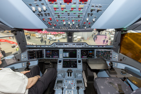 PARIS - LE BOURGET - JUN 18, 2015: Qatar Airways Airbus A350 XWB airplane cockpit.