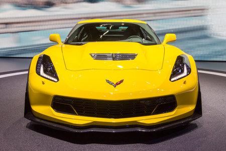 GENEVA, SWITZERLAND - MARCH 4, 2015: Corvette Z06 debuts at the 85th International Geneva Motor Show in Palexpo, Geneva. The Z06 is a high-performance version of the Chevrolet Corvette Redactioneel