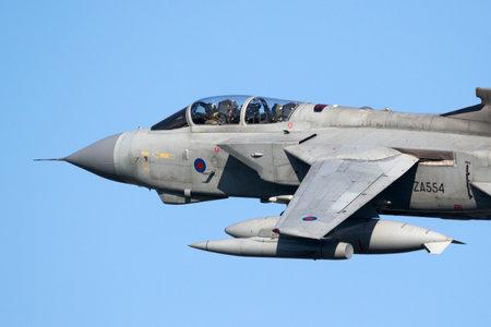 LEEUWARDEN, THE NETHERLANDS - MRT 28, 2017: RAF Tornado GR4 bomber jet plane take off during NATO exercise Frisian Flag. Editorial