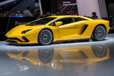 GENEVA, SWITZERLAND - MARCH 7, 2017: Lamborghini Aventador S sports car presented at the 87th Geneva International Motor Show.