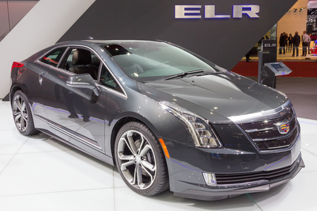 GENEVA, SWITZERLAND - MARCH 3, 2015: Cadillac ELR at the 85th International Geneva Motor Show in Palexpo, Geneva. The ELR is a luxury plug-in hybrid compact coupe.