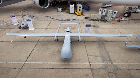 PARIS-LE BOURGET - JUN 18, 2015: EADS Harfangat UAV drone the 51st International Paris Air show. Harfang is a medium-altitude, long-endurance UAV system developed for the French Air Force. Editöryel