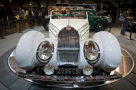 ESSEN, GERMANY - APR 6, 2017: Bugatti Type 57c Gangloff Roadster vintage car presented at the Techno Classica Essen Car Show.