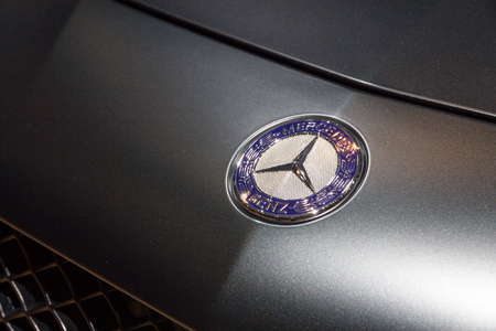 GENEVA, SWITZERLAND - MARCH 4, 2015: Close up of the Special Edition Mercedes SL Mille Miglia 417 at the 85th International Geneva Motor Show in Palexpo, Geneva.