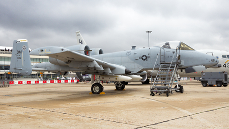 PARIS - LE BOURGET - JUN 18, 2015: US Air Force A-10A Warthog combat plane from Davis-Monthan Air Force Base on display at the 51st International Paris Air show