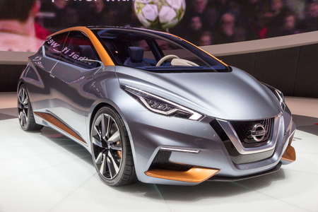 sway: GENEVA, SWITZERLAND - MARCH 4, 2015: World Premiere of the Nissan Sway at the 85th International Geneva Motor Show in Palexpo. Editorial