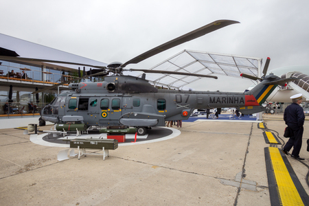 PARIS - JUN 18, 2015: New Brazilian Navy Eurocopter (Helibras) UH-15A Super Cougar helicopter on display during the Paris Air Show.