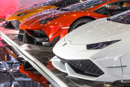 GENEVA, SWITZERLAND - MARCH 3, 2015: Customized Lamborghini supercars from DMC Exotic Car Tuning LTD at the 85th International Geneva Motor Show in Palexpo, Geneva.