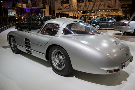 ESSEN, GERMANY - APR 6, 2017: Mercedes Benz 300 SLR W196S Uhlenhaut Coupe classic car presented at the Techno Classica Essen Car Show.