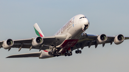 AMSTERDAM-SCHIPHOL - FEB 16, 2016: Emirates Airline Airbus A380 plane take off from Amsterdam-Schiphol airport.