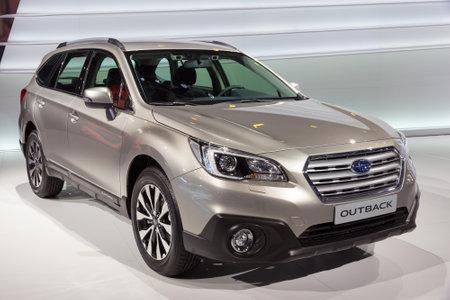 subaru: GENEVA, SWITZERLAND - MARCH 3, 2015: Subaru Outback EU-Version presented at the 85th International Geneva Motor Show in Palexpo, Geneva. Editorial
