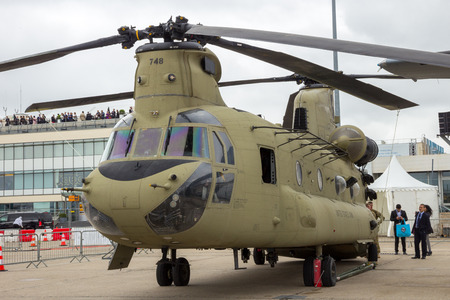 PARIS - LE BOURGET - JUN 18, 2015: US Army Boeing CH-47F Chinook helicopter at the 51st International Paris Air show