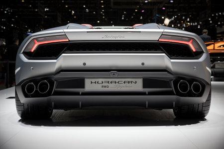 lamborghini: GENEVA, SWITZERLAND - MARCH 7, 2017: Lamborghini Huracan RWD Spyder sports car presented at the 87th Geneva International Motor Show. Editorial