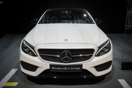 grille: GENEVA, SWITZERLAND - MARCH 7, 2017: Mercedes AMG C43 Coupe car presented at the 87th Geneva International Motor Show.