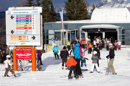 wintersport: FLACHAU, AUSTRIA - DEC 27: Ski pistes near the ski resort town of Flachau, Austriaon Dec 27, 2012. These pistes are part of the Ski Armada network, the largest of Europe Editorial