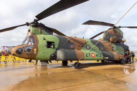 TORREJON, SPAIN - OCT 11, 2014: Spanish Army Boeing CH-47 Chinook transport helicopter.