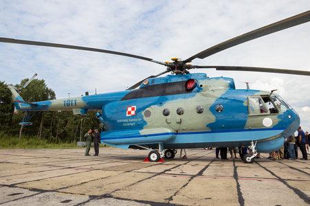 DARLOWO, POLAND - AUG 22, 2014: Polish Navy Mi-14 anti-submarine helicopter at its home base Darlowo. Editorial