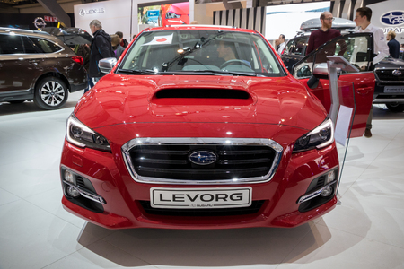 BRUSSELS - JAN 19, 2017: Subaru Levorg car at the Brussels Auto Salon. Stock Photo - 76808197