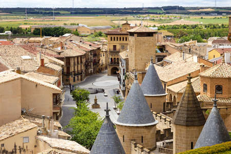View over the historical village of Olite in Navarre, Spain