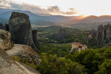 kalabaka: Beautiful scenic sunset view of Meteora in the Pindos Mountains, Greece Stock Photo