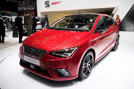 GENEVA, SWITZERLAND - MARCH 8, 2017: New 2017 SEAT Ibiza car presented at the 87th Geneva International Motor Show. Stok Fotoğraf - 79291414