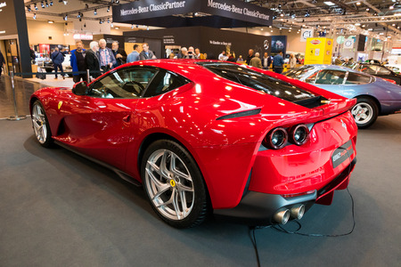 ESSEN, GERMANY - APR 6, 2017: Ferrari 812 Superfast sports car presented at the Techno Classica Essen Car Show.