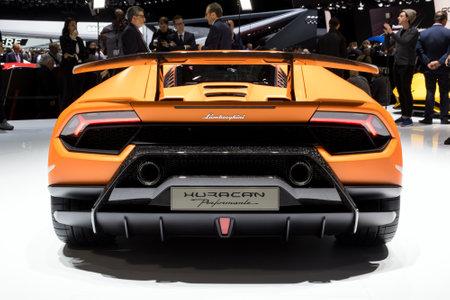 lamborghini: GENEVA, SWITZERLAND - MARCH 7, 2017: Lamborghini Huracan Performante sports car world premiere at the 87th Geneva International Motor Show.