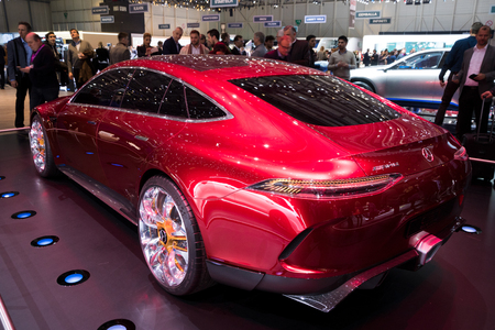 GENEVA, SWITZERLAND - MARCH 8, 2017: Mercedes AMG GT concept car presented at the 87th Geneva International Motor Show. Stock Photo - 79291457