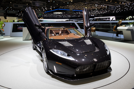 GENEVA, SWITZERLAND - MARCH 8, 2017: Spyker C8 Preliator sports car presented at the 87th Geneva International Motor Show.
