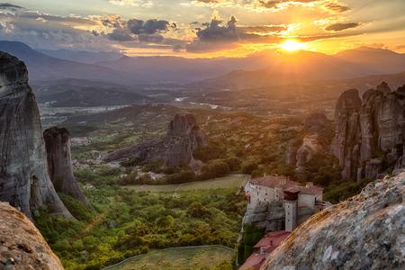 kalampaka: Beautiful scenic sunset view of Meteora in the Pindos Mountains, Greece Stock Photo