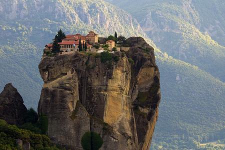 kalampaka: Beautiful scenic view of the Holy Trinity Monastery on a monolithic pillar in Meteora, Pindos Mountains, Greece Stock Photo